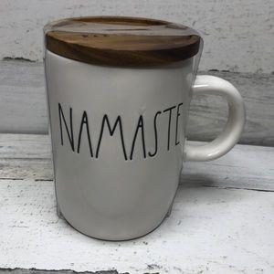 Rae Dunn NAMASTE mug wooden lid coaster NEW!